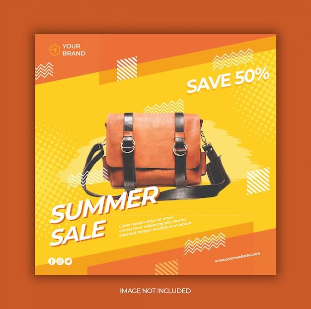현대 여름 판매 소셜 미디어와 사각형 웹 배너 템플릿