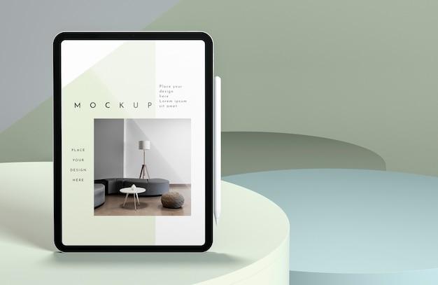 복사 공간 현대 태블릿 모형 프레젠테이션