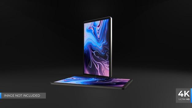 Современный планшетный макет dark 3d render