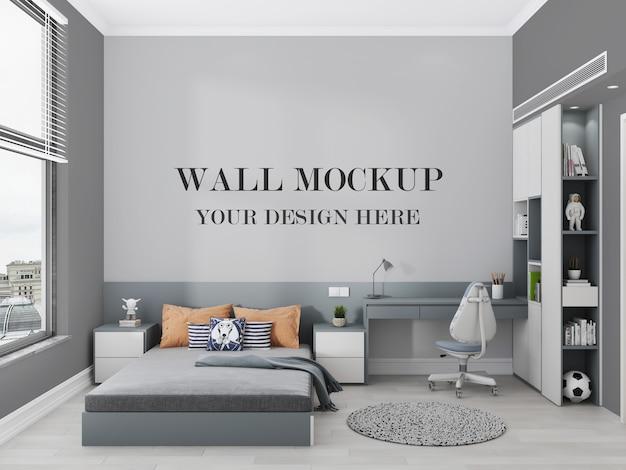 現代の十代の寝室の壁のモックアップ3dレンダリング