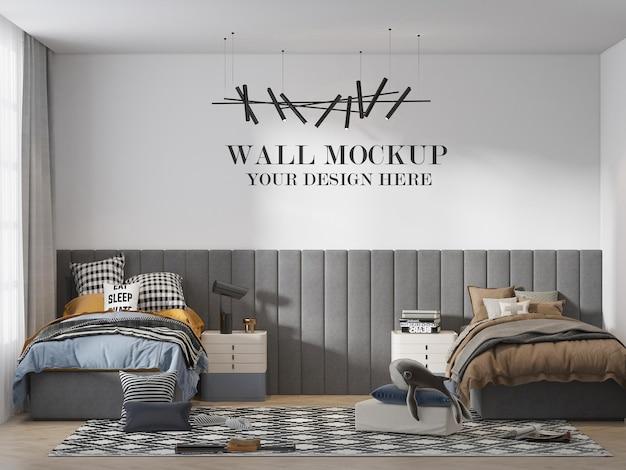 現代の十代の若者たちの寝室の壁のモックアップ