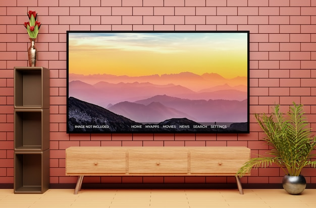 Modern television display mockup with beautiful interior