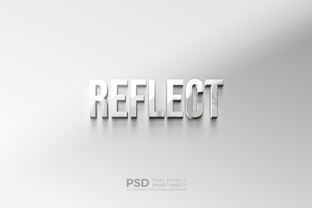 Modern text style effect with shining reflection effect
