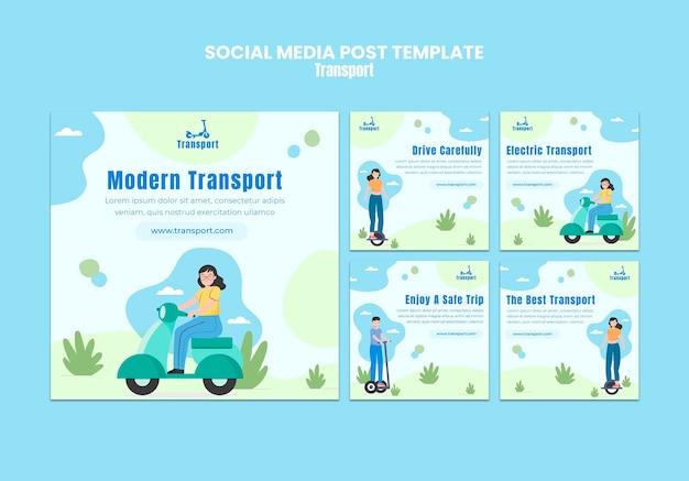 Post di social media di trasporto moderno