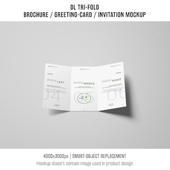 Modern trifold brochure or invitation mockup