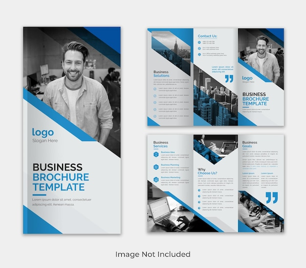 Modern trifold  business brochure template design with creative shape