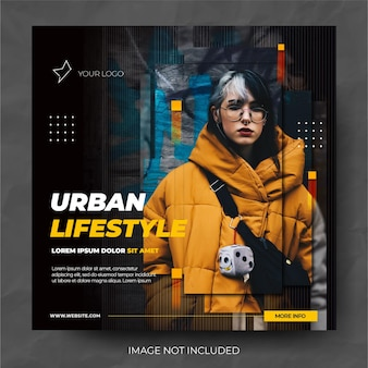 Modern vertical graphics fashion sale instagram social media post feed
