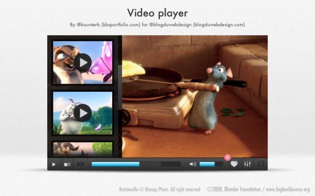 Modern video player with cartoon animals