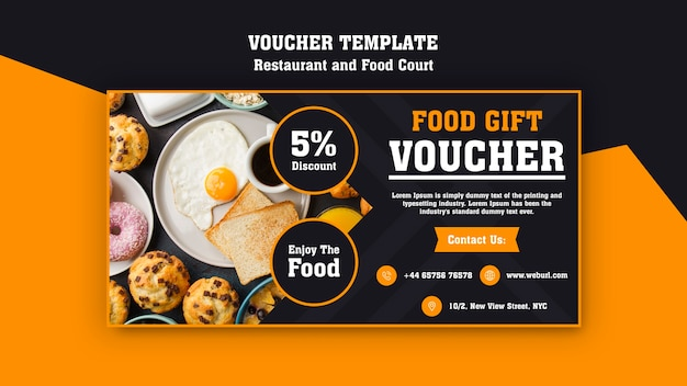Modern voucher for breakfast restaurant