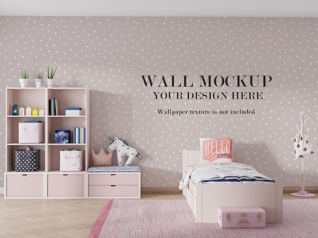 Modern wall mockup design in 3d rendered room