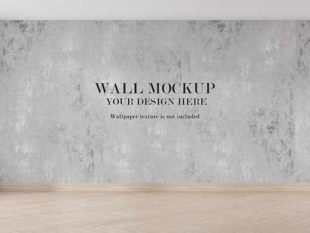 Современный дизайн макета стены в 3d визуализированной комнате