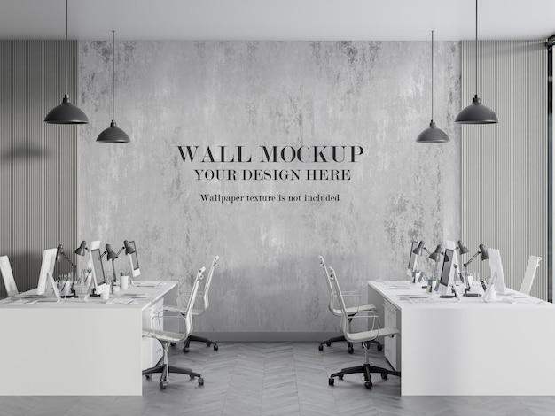 Современный дизайн макета стены в 3d визуализированной комнате Premium Psd