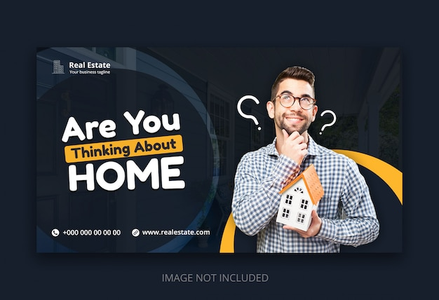 Modern web banner template for real estate business agency
