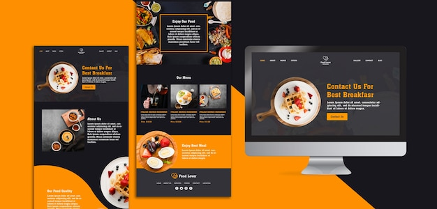 Modern web page template for breakfast restaurant