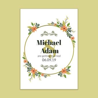 モダンな結婚式の招待状のモックアップ