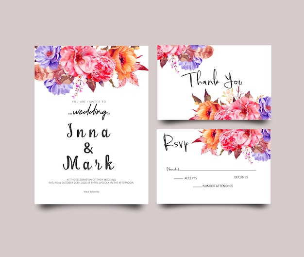 Modern wedding invitation template with floral theme