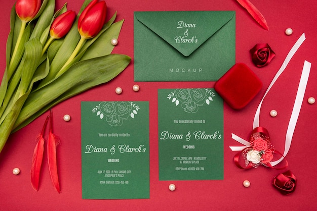 Modern wedding invitation with mock-up