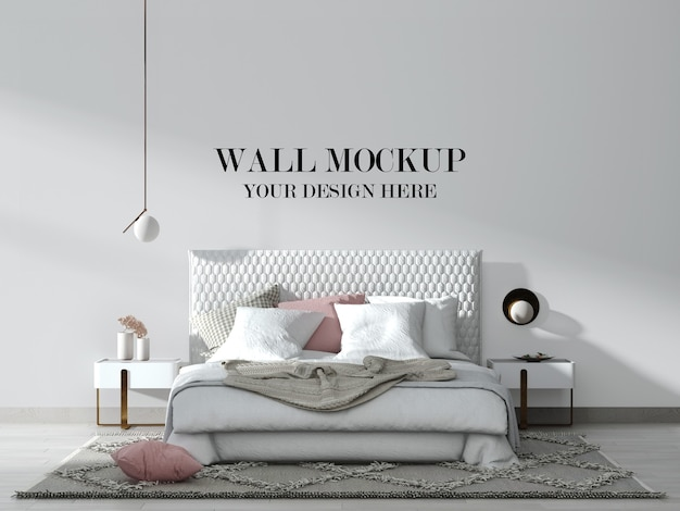 Modern white bedroom wall mockup