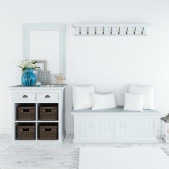 Современная белая мебель для прихожей