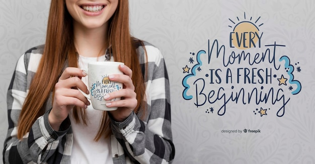 Modern woman holding mug mock-up