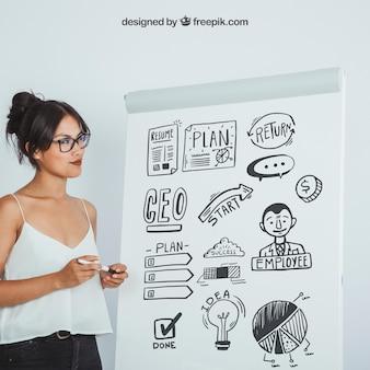 화이트 보드의 디자인을 모의 현대 여성