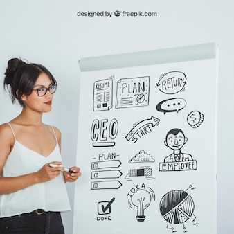 Modern woman with mock up design of whiteboard