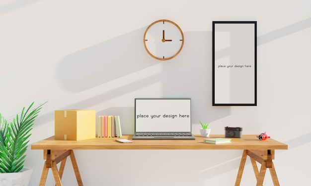 나무 책상 3d 렌더링에 노트북과 화이트 룸에서 현대 직장