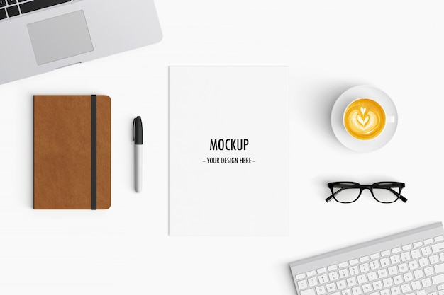 modern workspace. top view. flat lay style