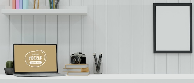 Modern workspace with laptop, stationery, camera and decorations on the desk in white plank wall room, 3d rendering, 3d illustration