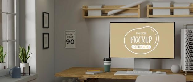 사무용품, 복사 공간, 3d 렌더링, 3d 일러스트레이션이 있는 모의 데스크탑 컴퓨터가 있는 현대적인 작업 공간