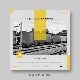 Modern yellow fashion sale promotion social media instagram post banner template