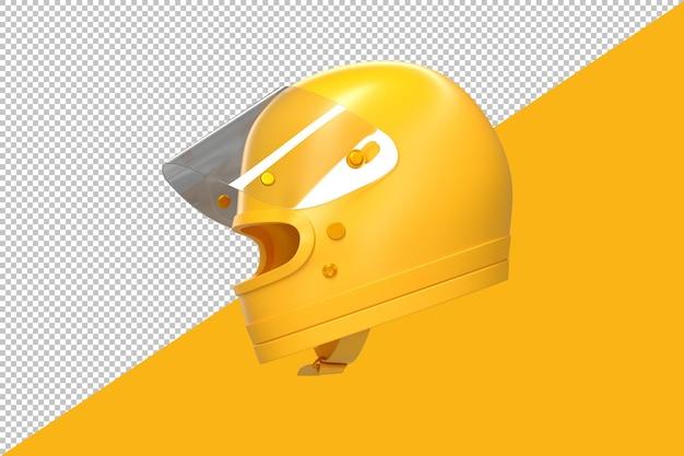 현대적인 노란색 레이싱 헬멧입니다. 3d 렌더링
