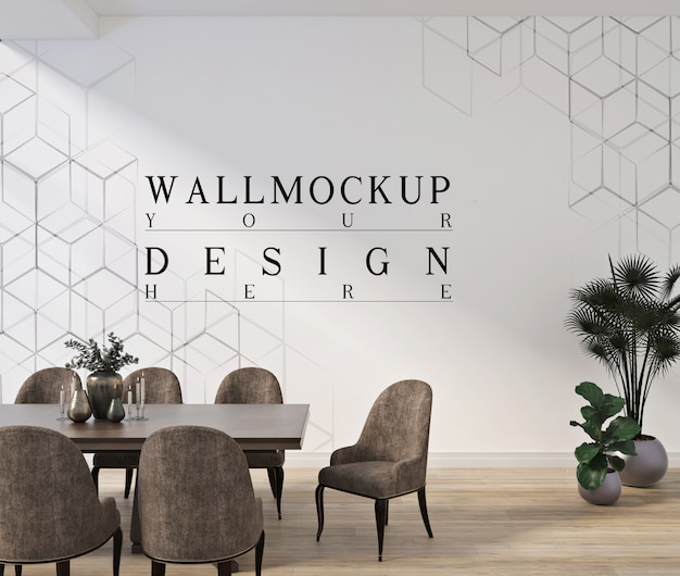 Moderndinning room design with mockup wall