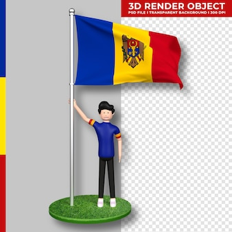 かわいい人々の漫画のキャラクターとモルドバの旗。独立記念日。 3dレンダリング。