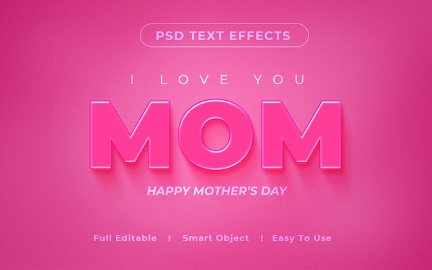 Mom 3d text effect mockup
