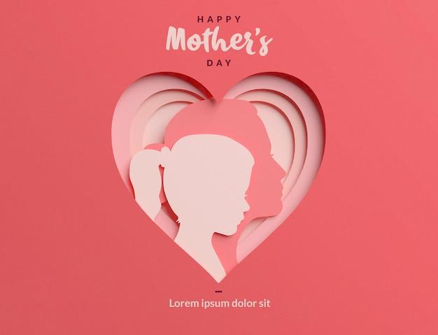 Мама и дочь papercut силуэты внутри сердечка шаблона