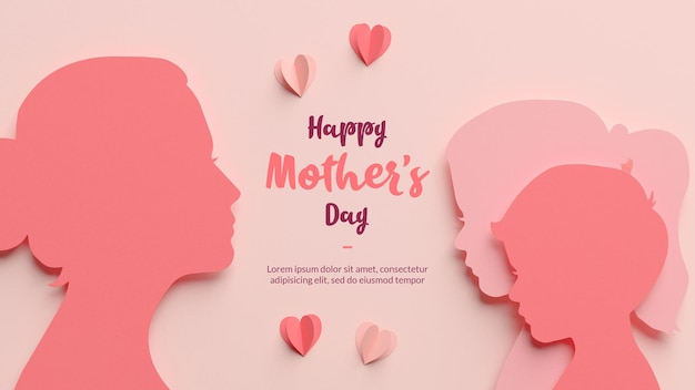 Mom, daughter and son silhouettes in papercut style template
