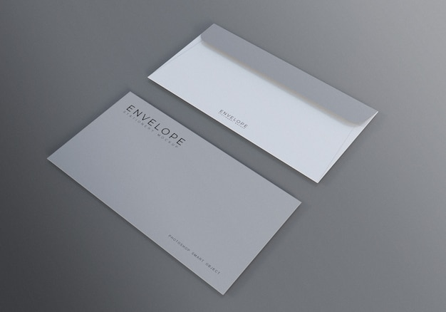 Monarch envelope mockup with gray background Premium Psd