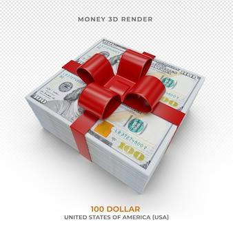 Деньги 100 долларовую купюру с подарочной лентой изолированы
