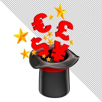 마술사 모자 비즈니스 개념 3d 그림에서 돈을 날아