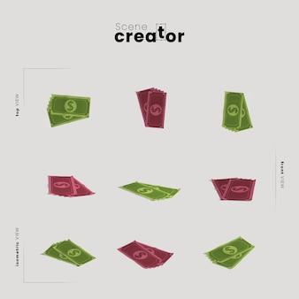 Деньги под разными углами иллюстраций создателя сцены Бесплатные Psd