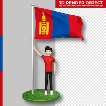 かわいい人々の漫画のキャラクターとモンゴルの旗。 3dレンダリング。