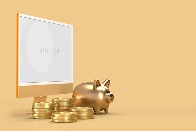 Monitor 24 mockup with coin template for presentation branding