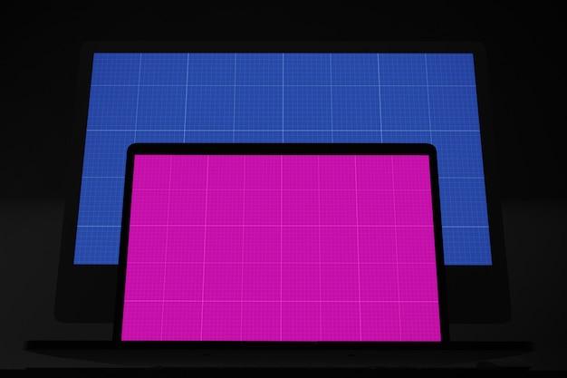 컴퓨터 화면 모형, 노트북 및 데스크탑 컴퓨터 모니터링