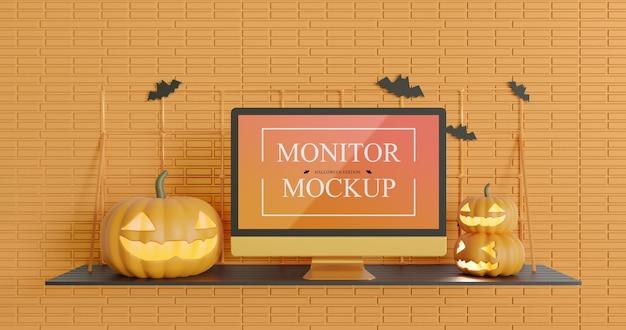 Monitor screen mockup in halloween edition
