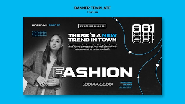 Monochromatic banner template for fashion trends with woman