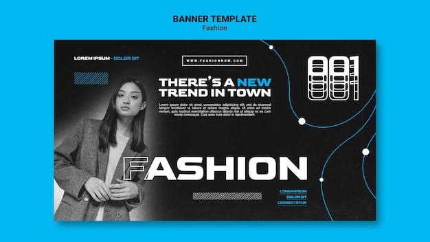Modello di banner monocromatico per le tendenze della moda con la donna