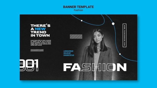 Monochromatic horizontal banner for fashion trends with woman