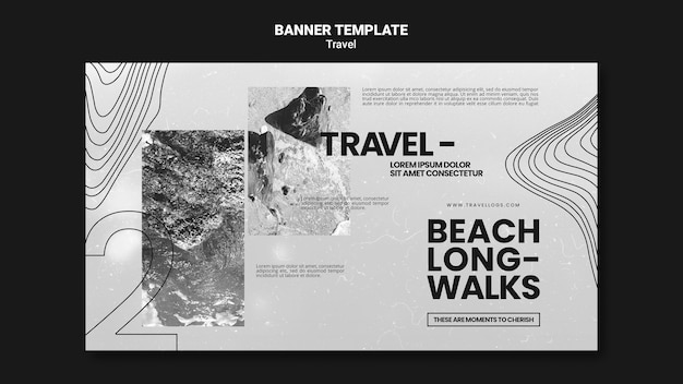 Монохромный горизонтальный баннер для расслабляющих долгих пляжных прогулок
