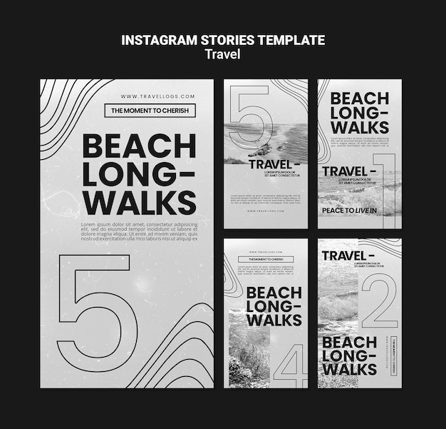 Monochromatic instagram stories collection for relaxing beach long-walks
